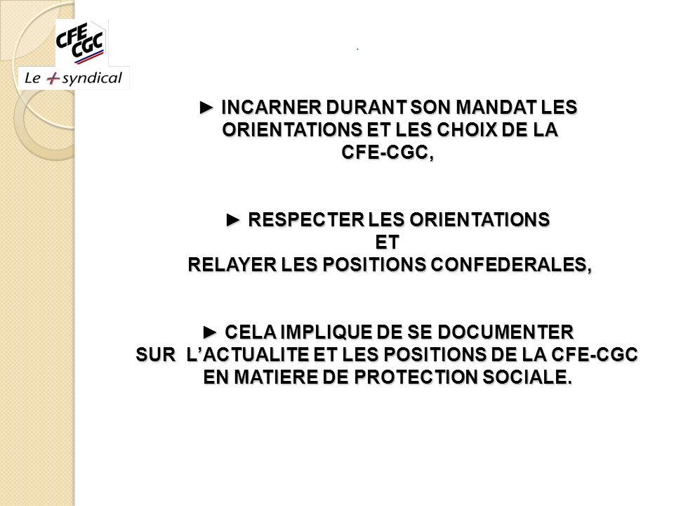 ► INCARNER DURANT SON MANDAT LES ORIENTATIONS ET LES CHOIX DE LA CFE-CGC, ► RESPECTER LES ORIENTATIONS ET RELAYER LES POSITIONS CONFEDERALES, ► CELA IMPLIQUE DE SE DOCUMENTER SUR L'ACTUALITE ET LES POSITIONS DE LA CFE-CGC EN MATIERE DE PROTECTION SOCIALE.