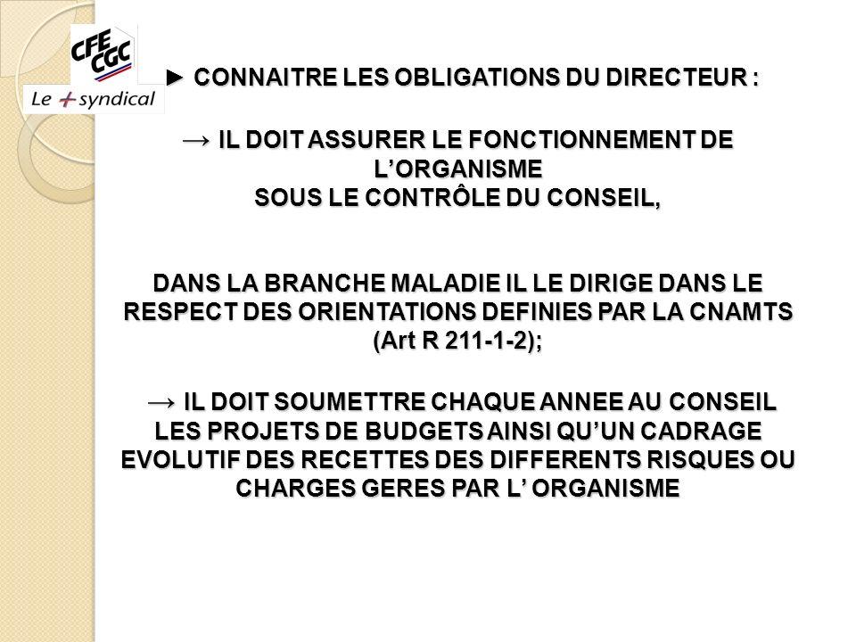 ► CONNAITRE LES OBLIGATIONS DU DIRECTEUR : → IL DOIT ASSURER LE FONCTIONNEMENT DE L'ORGANISME SOUS LE CONTRÔLE DU CONSEIL, DANS LA BRANCHE MALADIE IL LE DIRIGE DANS LE RESPECT DES ORIENTATIONS DEFINIES PAR LA CNAMTS (Art R 211-1-2); → IL DOIT SOUMETTRE CHAQUE ANNEE AU CONSEIL LES PROJETS DE BUDGETS AINSI QU'UN CADRAGE EVOLUTIF DES RECETTES DES DIFFERENTS RISQUES OU CHARGES GERES PAR L' ORGANISME →