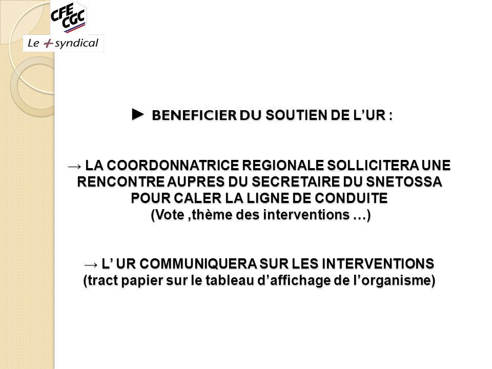 ► BENEFICIER DU SOUTIEN DE L'UR : → LA COORDONNATRICE REGIONALE SOLLICITERA UNE RENCONTRE AUPRES DU SECRETAIRE DU SNETOSSA POUR CALER LA LIGNE DE CONDUITE (Vote ,thème des interventions …) → L' UR COMMUNIQUERA SUR LES INTERVENTIONS (tract papier sur le tableau d'affichage de l'organisme) --