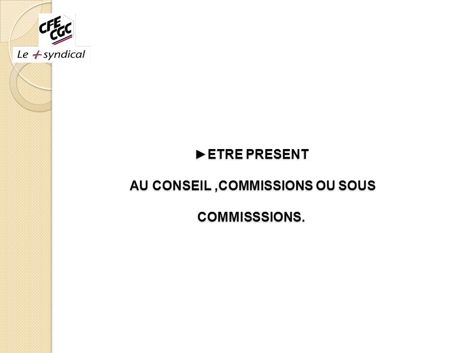 ►ETRE PRESENT AU CONSEIL ,COMMISSIONS OU SOUS COMMISSSIONS.