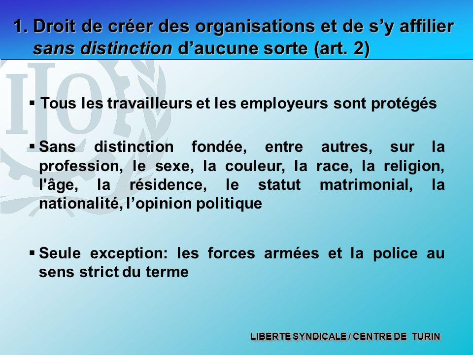 1. Droit de créer des organisations et de s'y affilier sans distinction d'aucune sorte (art. 2)