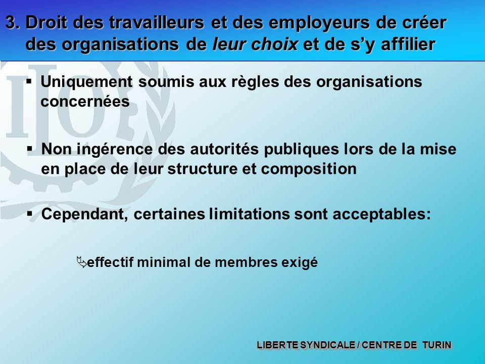3. Droit des travailleurs et des employeurs de créer des organisations de leur choix et de s'y affilier