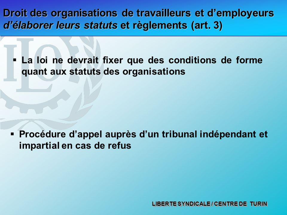 Droit des organisations de travailleurs et d'employeurs d'élaborer leurs statuts et règlements (art. 3)