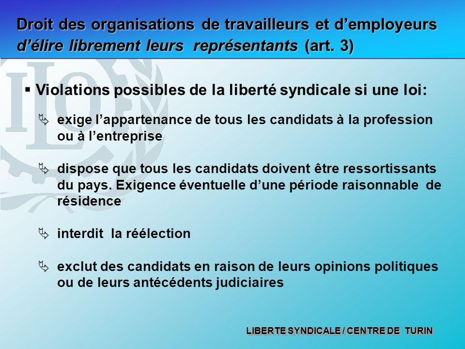 Droit des organisations de travailleurs et d'employeurs d'élire librement leurs représentants (art. 3)