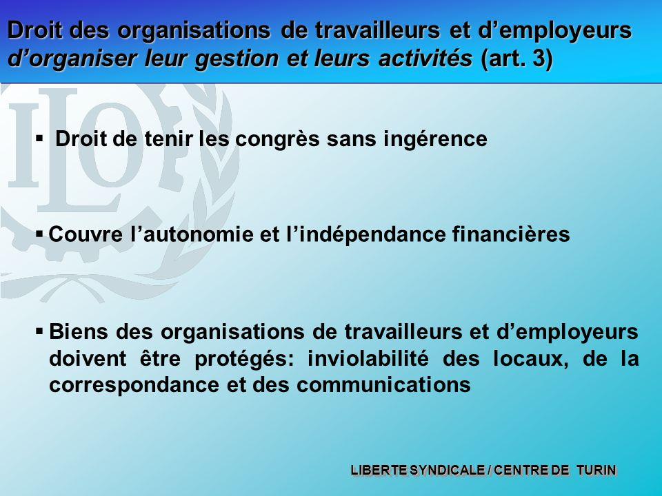 Droit des organisations de travailleurs et d'employeurs d'organiser leur gestion et leurs activités (art. 3)