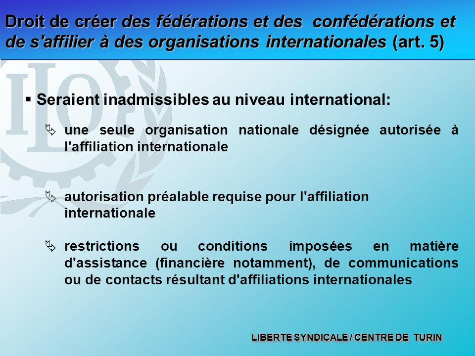 Droit de créer des fédérations et des confédérations et de s affilier à des organisations internationales (art. 5)