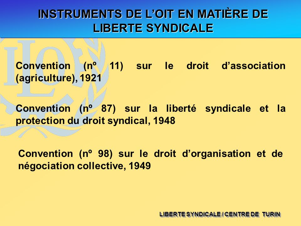 INSTRUMENTS DE L'OIT EN MATIÈRE DE LIBERTE SYNDICALE