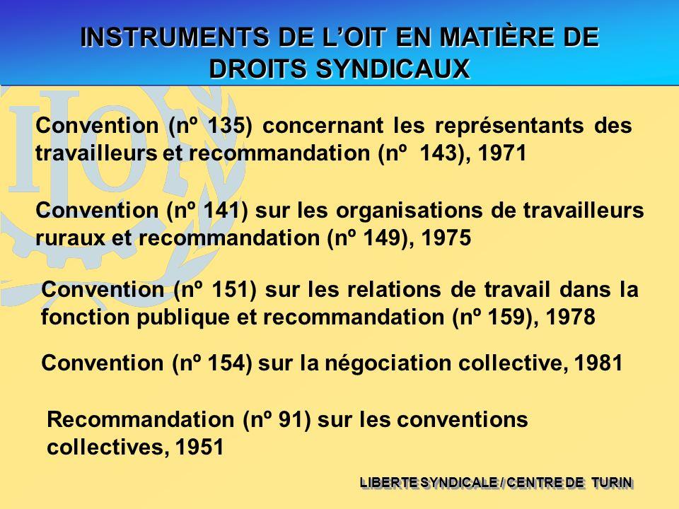INSTRUMENTS DE L'OIT EN MATIÈRE DE DROITS SYNDICAUX