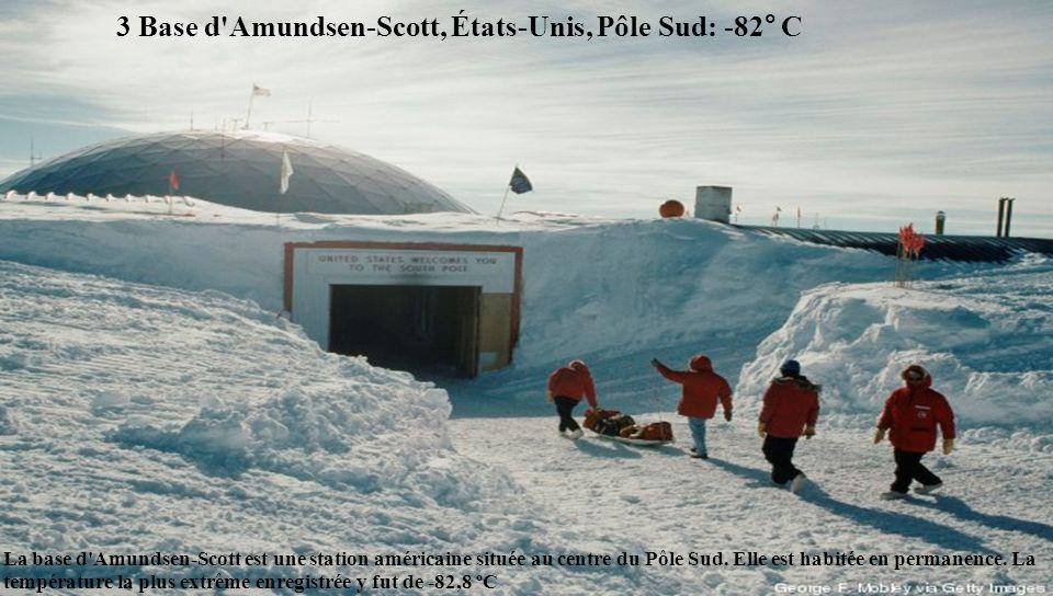 3 Base d Amundsen-Scott, États-Unis, Pôle Sud: -82° C