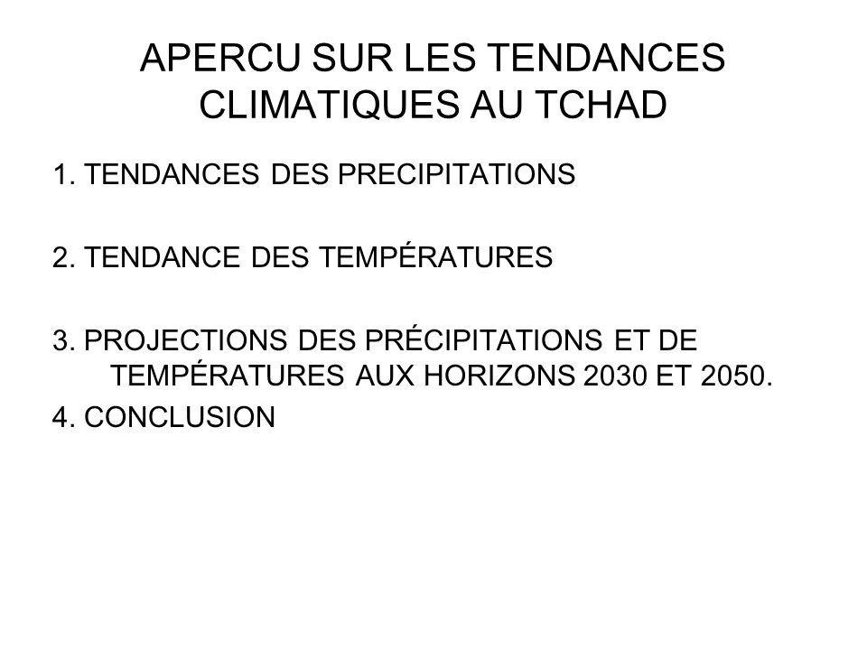 APERCU SUR LES TENDANCES CLIMATIQUES AU TCHAD