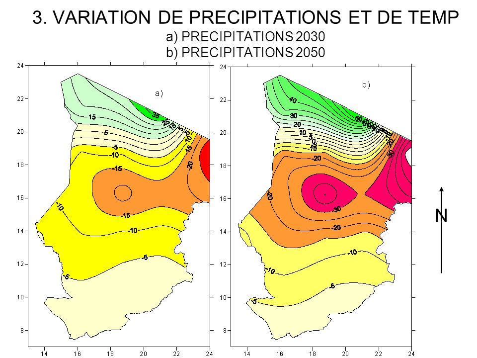 3. VARIATION DE PRECIPITATIONS ET DE TEMP a) PRECIPITATIONS 2030 b) PRECIPITATIONS 2050
