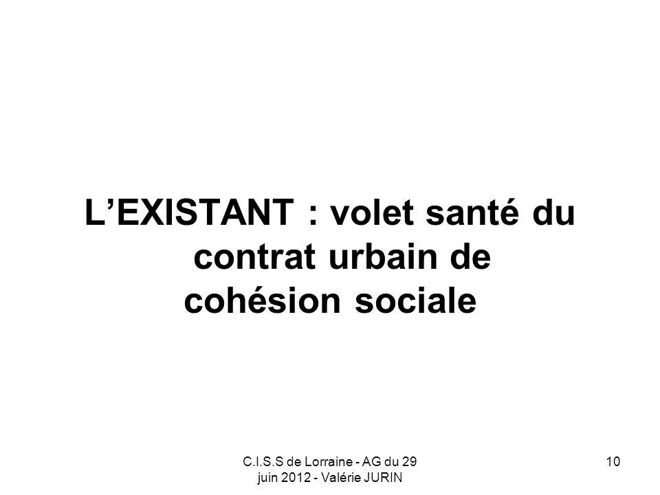 L'EXISTANT : volet santé du contrat urbain de
