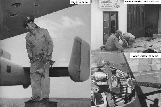 Dégâts de la flak Atelier à Berteaux, le 7 mars 1943 Tourelle atteinte par la flak