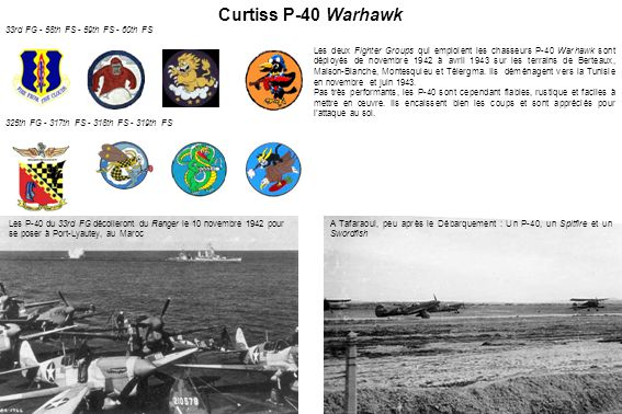 Curtiss P-40 Warhawk 33rd FG - 58th FS - 59th FS - 60th FS