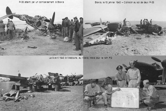 P-38 atteint par un bombardement à Biskra
