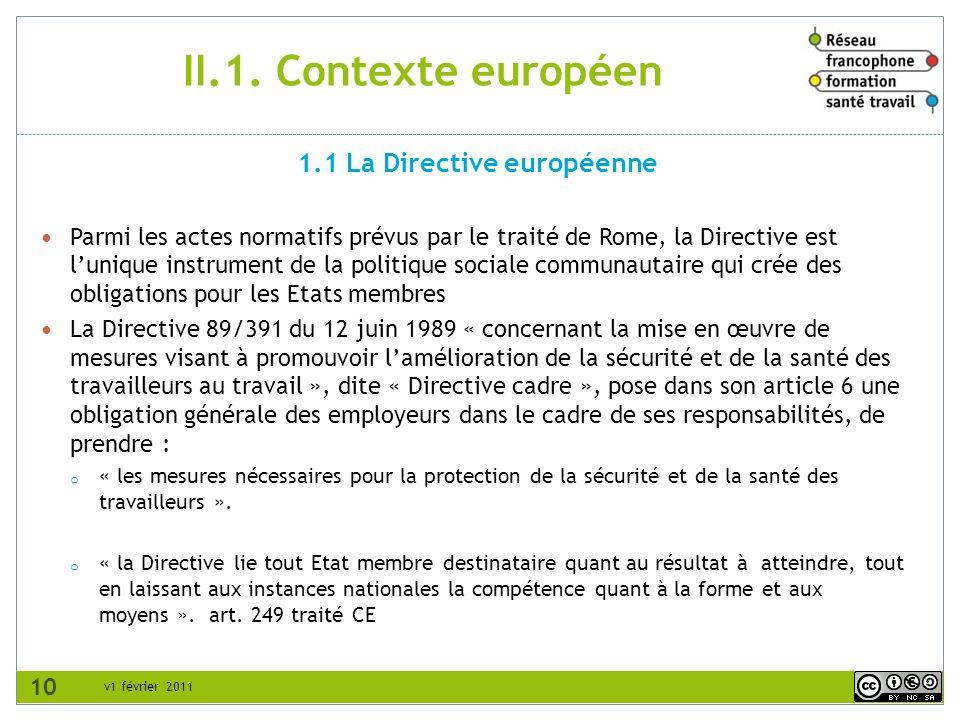 1.1 La Directive européenne
