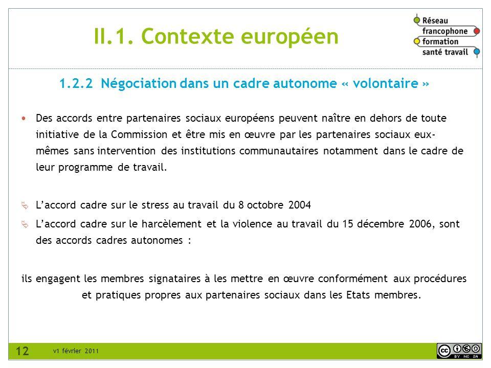 1.2.2 Négociation dans un cadre autonome « volontaire »