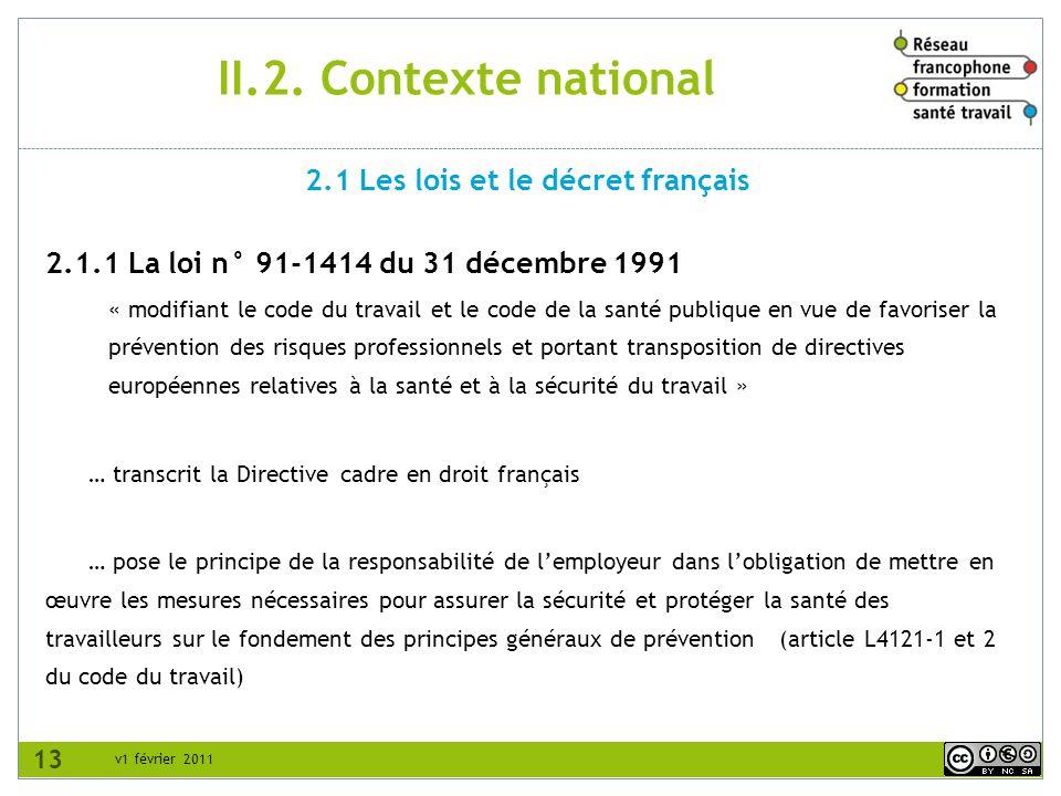 2.1 Les lois et le décret français