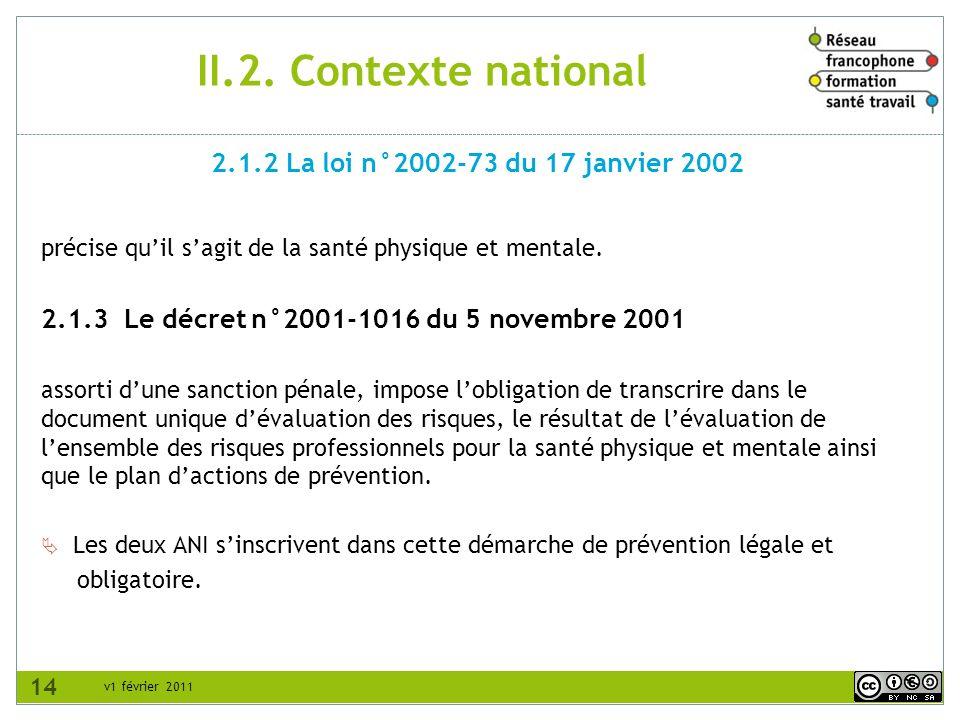 II.2. Contexte national 2.1.2 La loi n°2002-73 du 17 janvier 2002