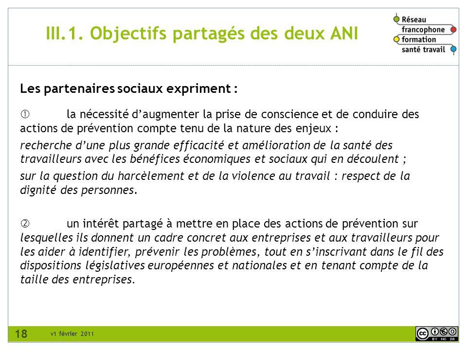 III.1. Objectifs partagés des deux ANI