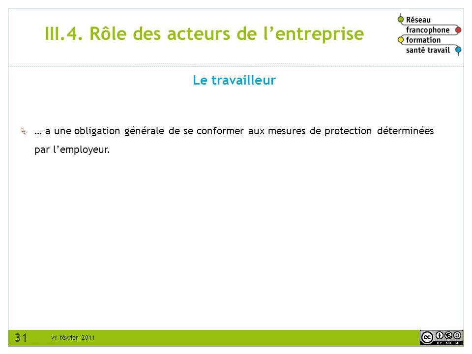 III.4. Rôle des acteurs de l'entreprise