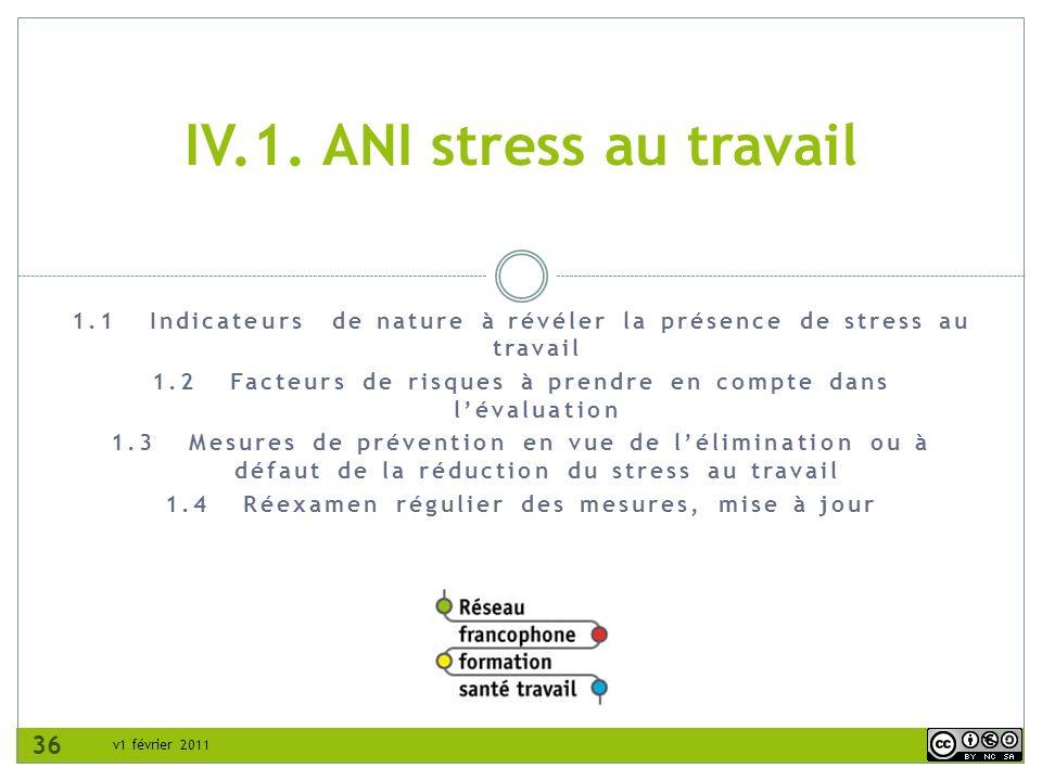 IV.1. ANI stress au travail