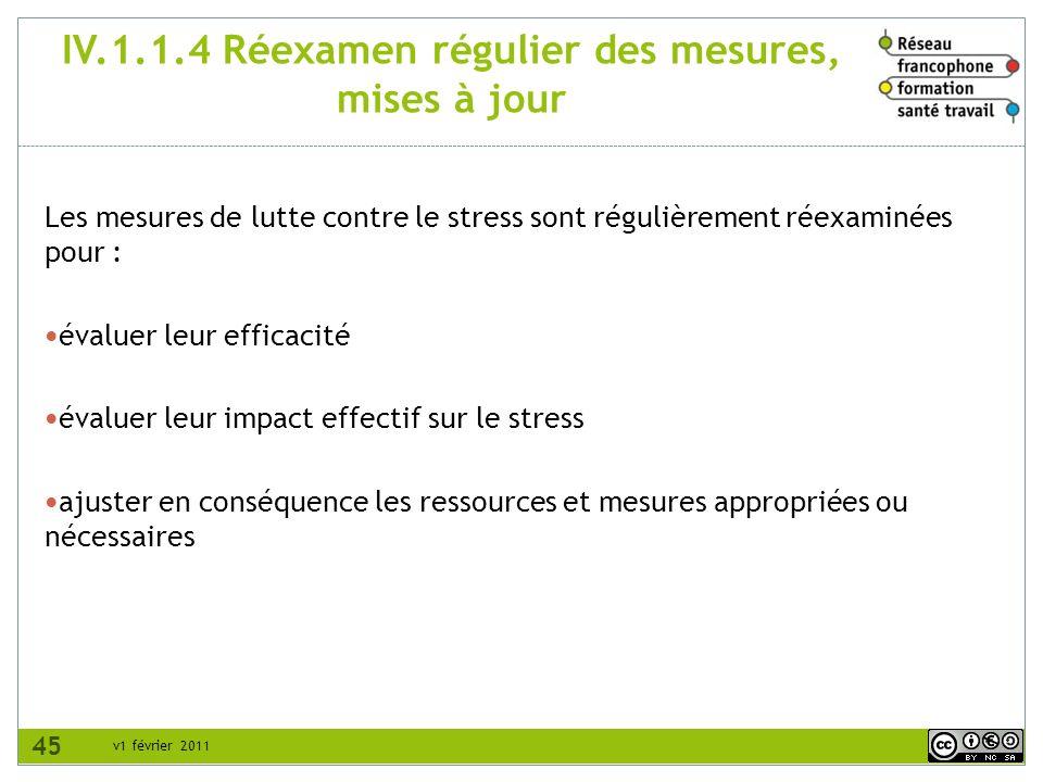 IV.1.1.4 Réexamen régulier des mesures, mises à jour