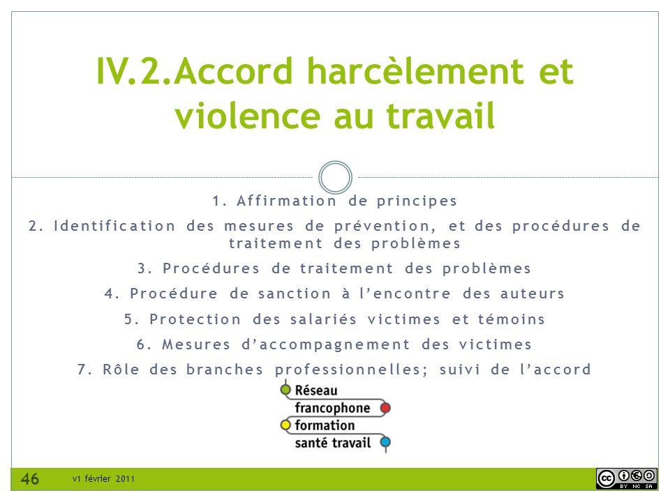 IV.2.Accord harcèlement et violence au travail