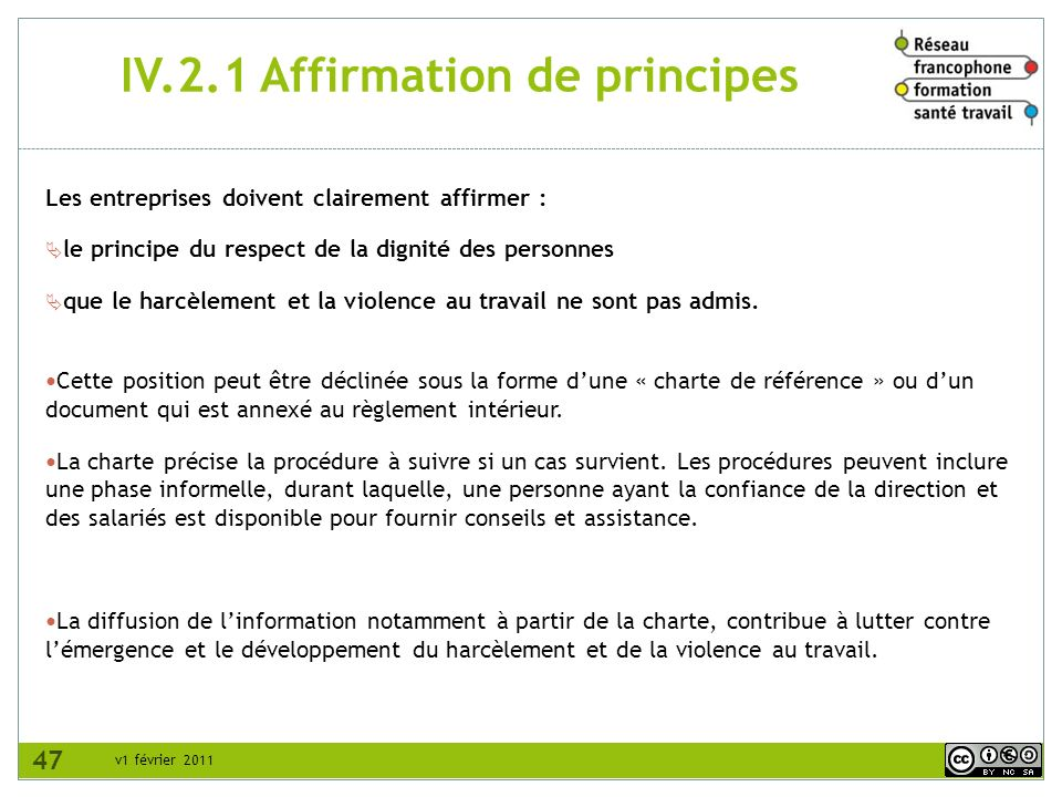 IV.2.1 Affirmation de principes