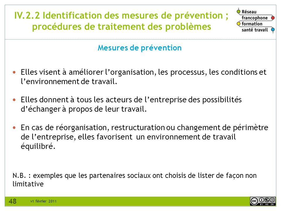 IV.2.2 Identification des mesures de prévention ; procédures de traitement des problèmes
