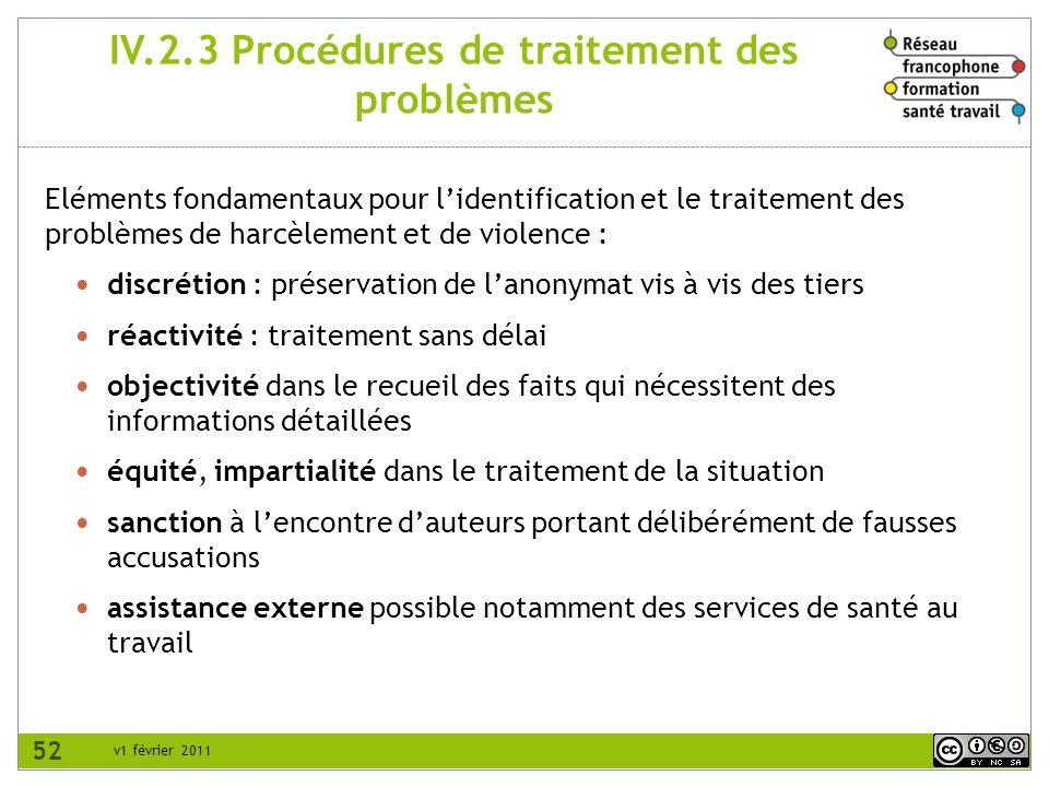 IV.2.3 Procédures de traitement des problèmes