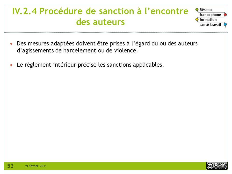 IV.2.4 Procédure de sanction à l'encontre des auteurs