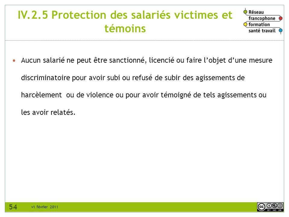 IV.2.5 Protection des salariés victimes et témoins