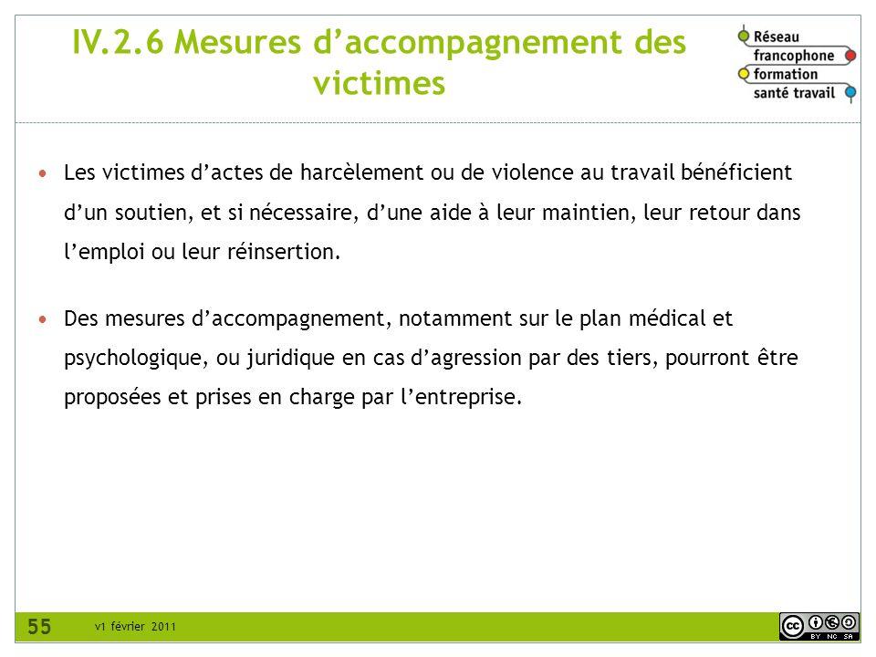 IV.2.6 Mesures d'accompagnement des victimes