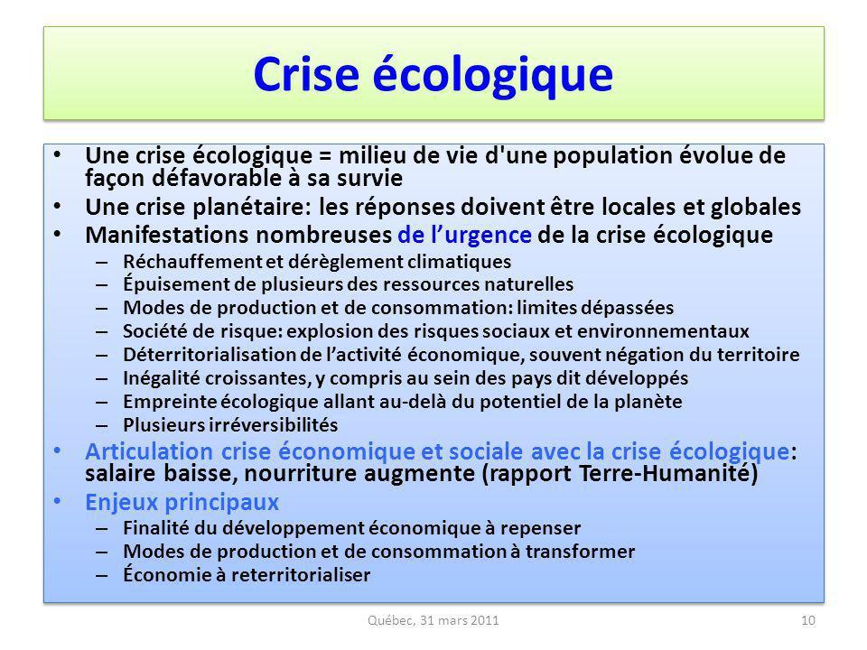 Crise écologique Une crise écologique = milieu de vie d une population évolue de façon défavorable à sa survie.