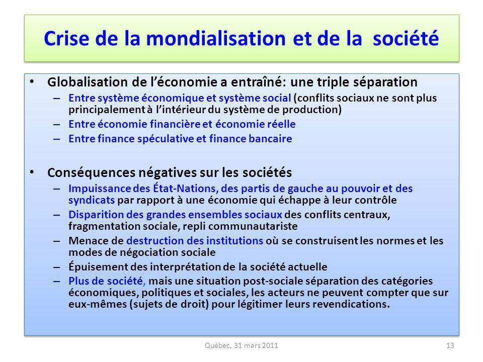 Crise de la mondialisation et de la société