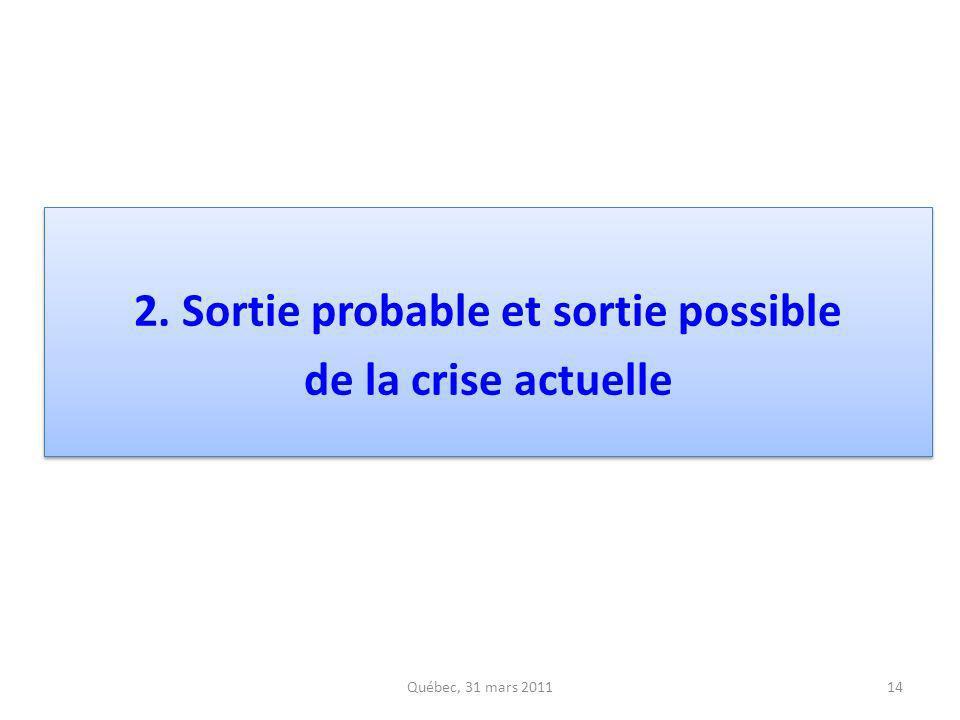 2. Sortie probable et sortie possible de la crise actuelle