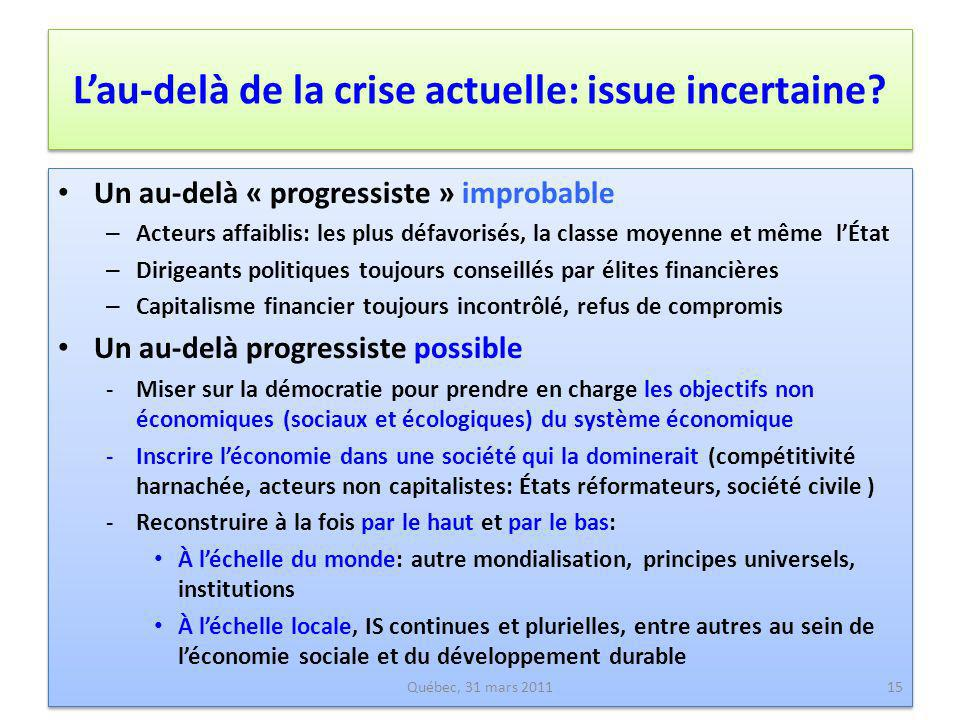 L'au-delà de la crise actuelle: issue incertaine