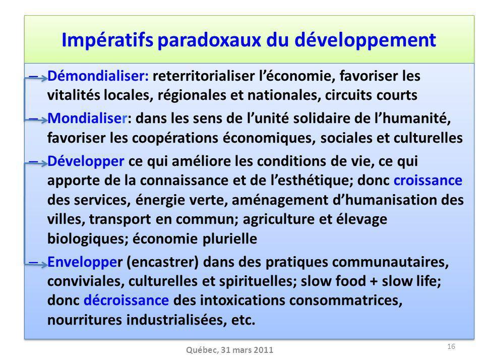 Impératifs paradoxaux du développement
