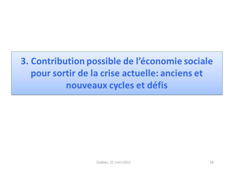 3. Contribution possible de l'économie sociale pour sortir de la crise actuelle: anciens et nouveaux cycles et défis