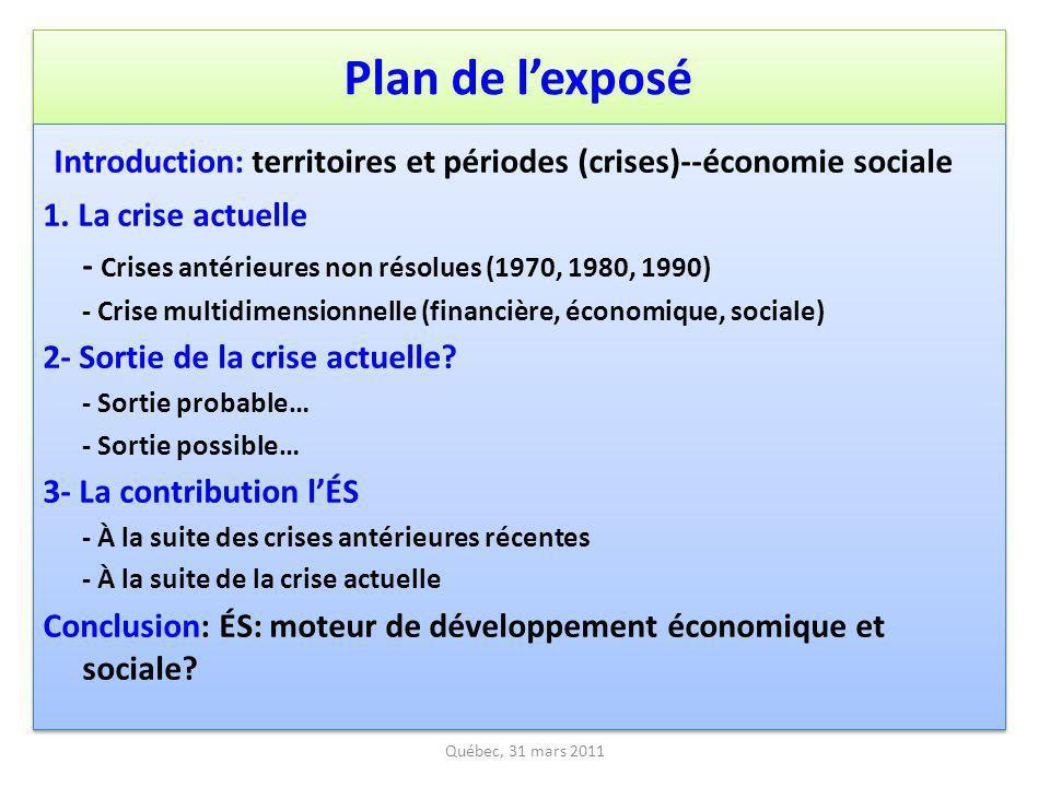 Plan de l'exposé Introduction: territoires et périodes (crises)--économie sociale. 1. La crise actuelle.