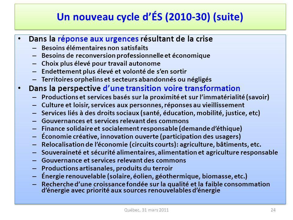 Un nouveau cycle d'ÉS (2010-30) (suite)