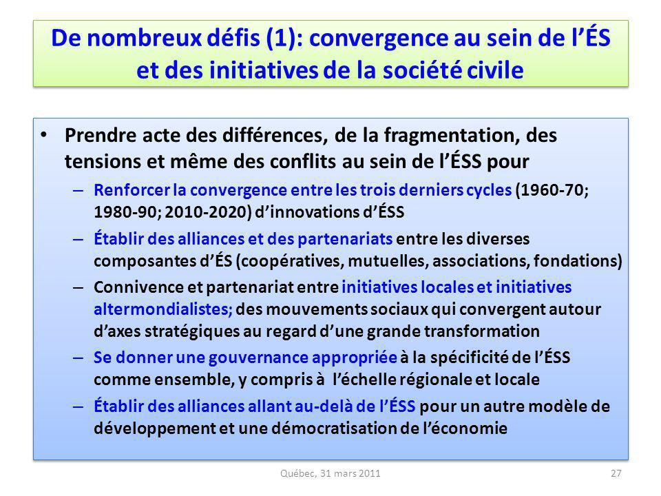 De nombreux défis (1): convergence au sein de l'ÉS et des initiatives de la société civile