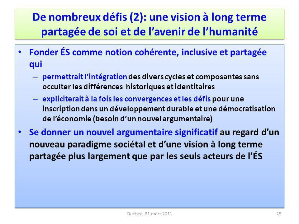De nombreux défis (2): une vision à long terme partagée de soi et de l'avenir de l'humanité