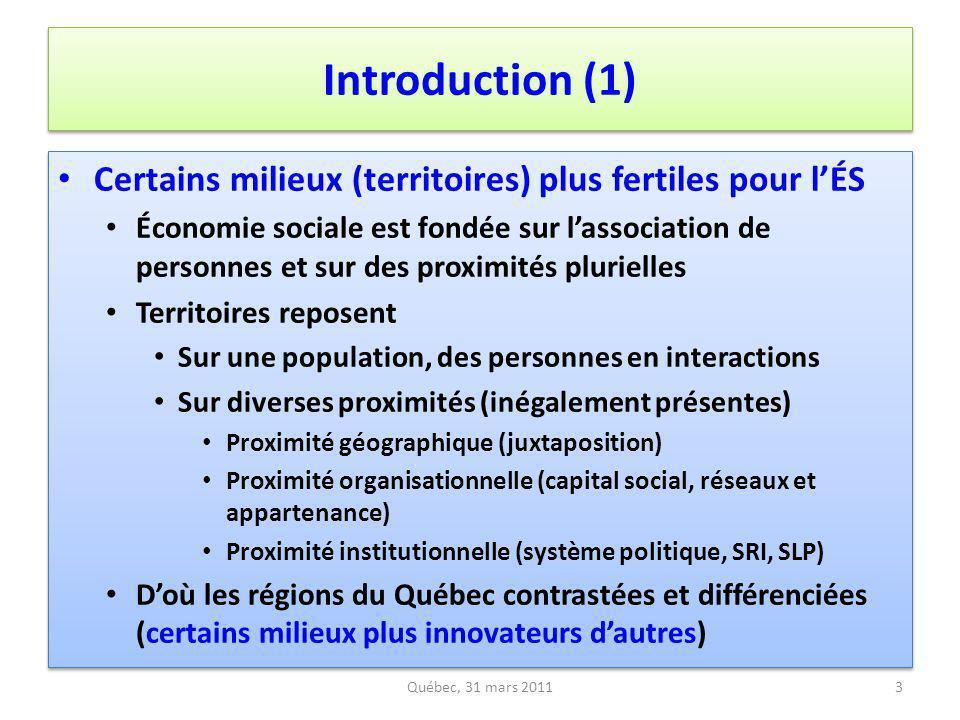 Introduction (1) Certains milieux (territoires) plus fertiles pour l'ÉS.