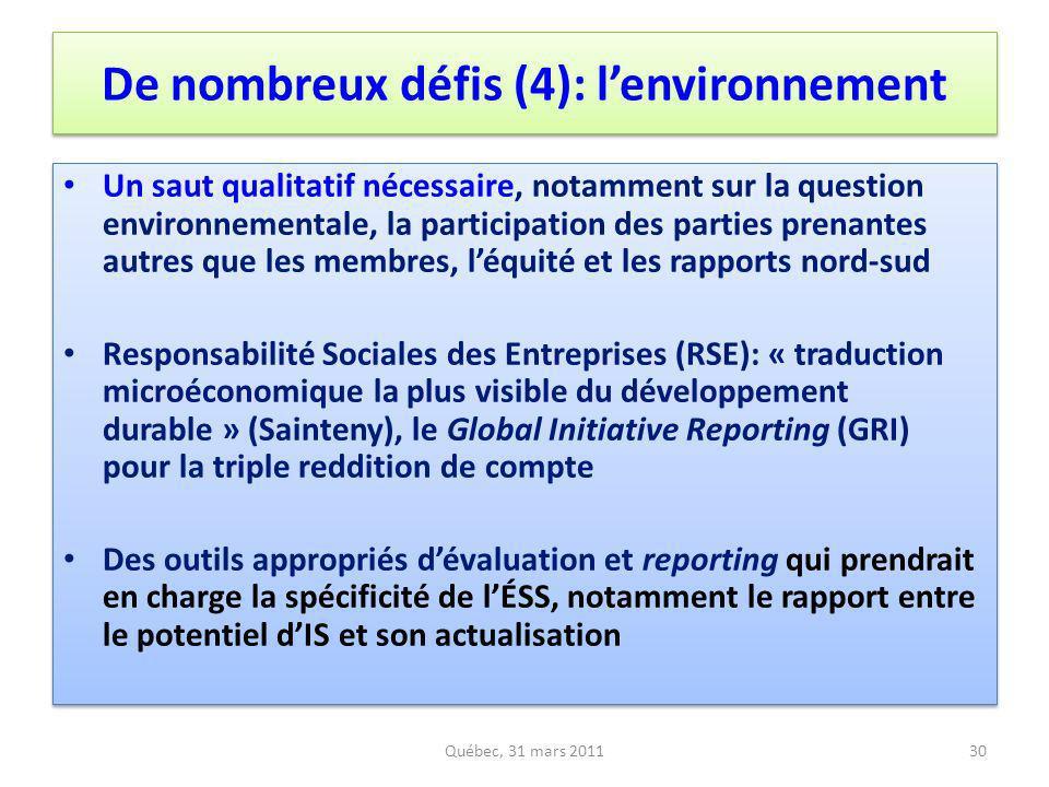 De nombreux défis (4): l'environnement