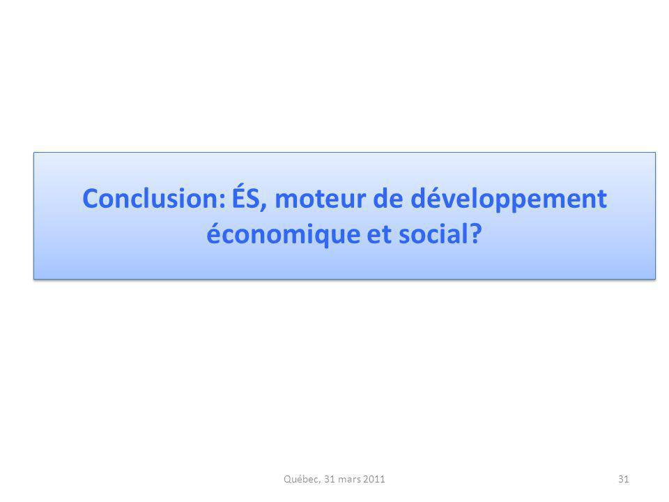 Conclusion: ÉS, moteur de développement économique et social
