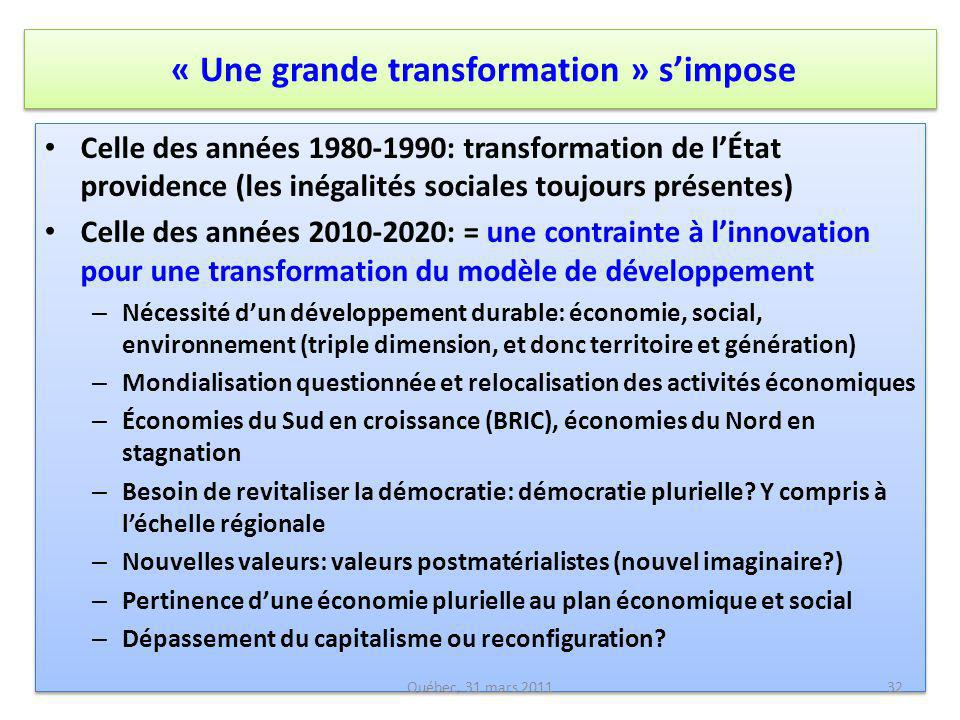 « Une grande transformation » s'impose