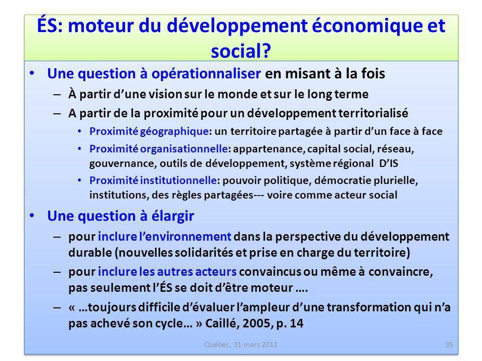 ÉS: moteur du développement économique et social