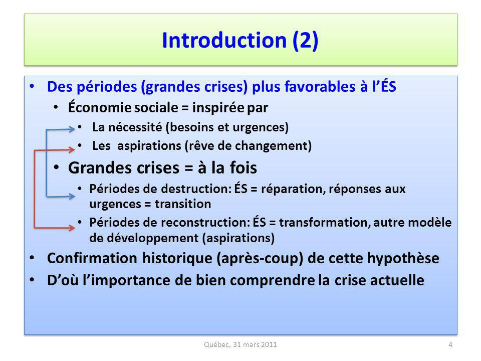 Introduction (2) Grandes crises = à la fois
